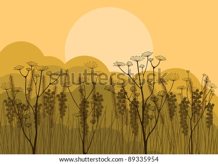 Autumn countryside landscape background illustration