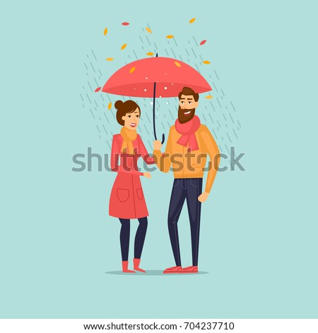 Autumn couple with an umbrella in the rain. Flat design vector illustration.