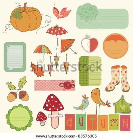 Autumn Cute Elements Set - for scrapbook, design, invitation, greetings