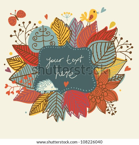 Autumn cute frame. Background with bird, hedgehog and butterfly
