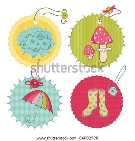 Autumn Cute Tags - for scrapbook, design, invitation, greetings