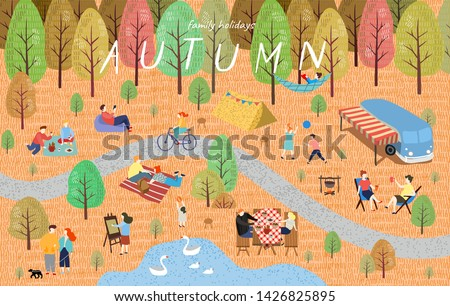Autumn. Cute vector illustration of the autumn landscape with people on vacation in the park on a picnic, trees, bus and lake. Family weekend in nature. Top view