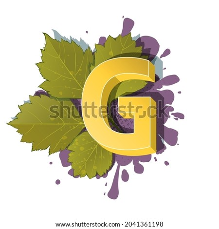 Autumn 3D pop art alphabet, colorful bold letter G and elm leaves on a halftoned and spotted background. Multilayer funny vector letters in retro comic style for websites, posters, comics and banners. Stock fotó ©