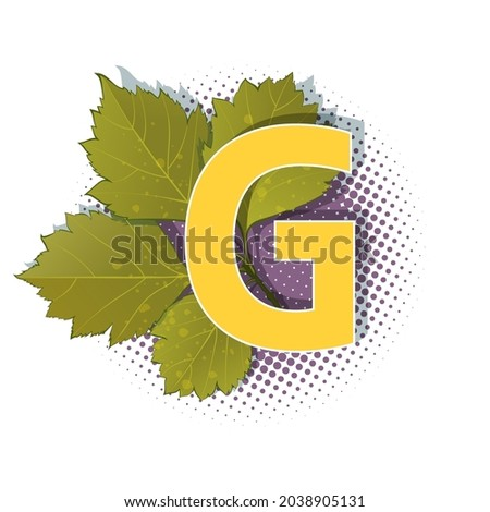 Autumn 3D pop art alphabet - colorful bold letter G and elm leaves on a halftoned background. Multilayer funny vector letters in retro comic style for decoration websites, posters, comics and banners. Stock fotó ©