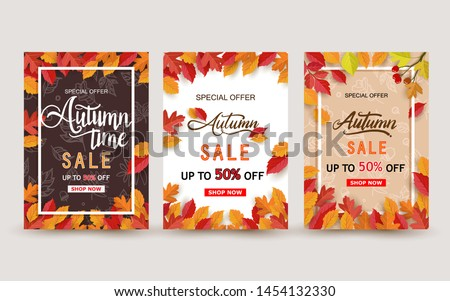 Autumn design with leaves. background, banner, card and poster design