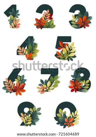 autumn digits vector set of