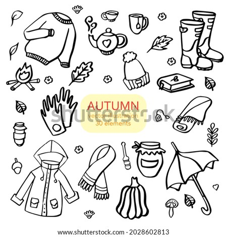 Autumn doodles. Hand drawn set of sketches. Isolated objects on white background.