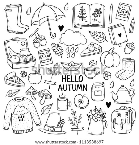 Autumn doodles. Hand drawn set of sketches: rubber boots,cloud, book, cup of tea, sweater, umbrella, pie, apple, mushrooms, leaves, flowers etc. Isolated objects on white background