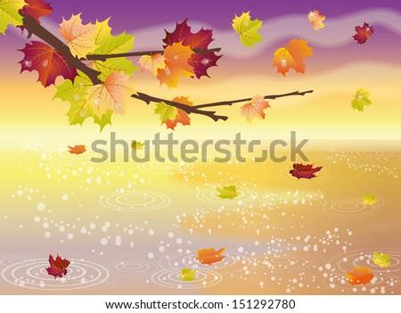 Autumn elegant wallpaper, vector illustration