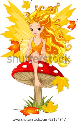 Autumn  fairy elf sitting on mushroom
