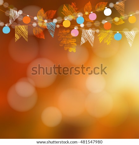 Autumn fall card, banner. Garden party decoration. Garland of oak, maple leaves, lights, party flags.Vector blurred illustration background.