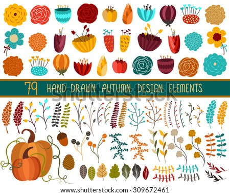 autumn fall floral set vector