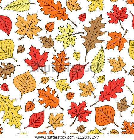Autumn Fall Foliage Leaves Seamless Pattern Hand-Drawn Back to School Leaf Doodle Vector Illustration Design