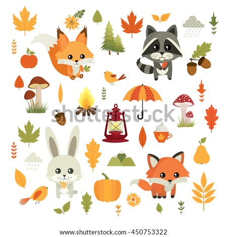 autumn fall vector set cute