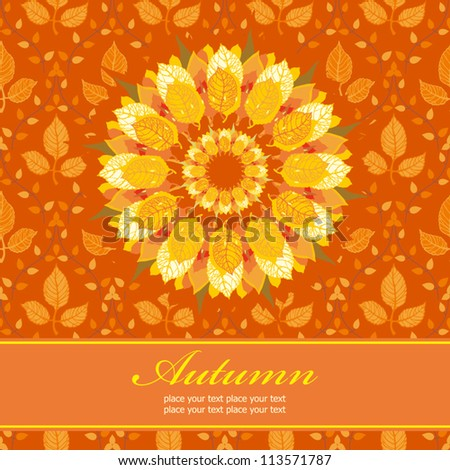 Autumn floral background; template for design