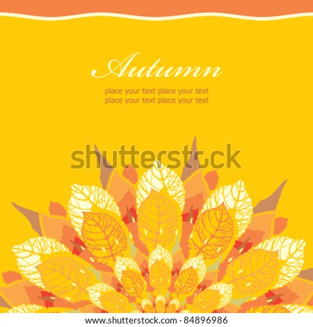 Autumn floral card, template with place for your text - stock vector