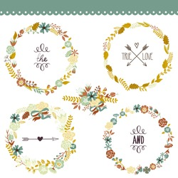 Autumn Floral Frame Collection. Set of cute retro flowers arranged un a shape of the wreath perfect for wedding invitations and birthday cards