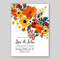 Autumn floral wedding invitation orange yellow rose poppy background
