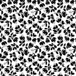 Autumn flowers black and white vector seamless pattern. Floral petals and seeds silhouettes hand drawn illustration. Monochrome botanical textile print. Elegant plants wallpaper design