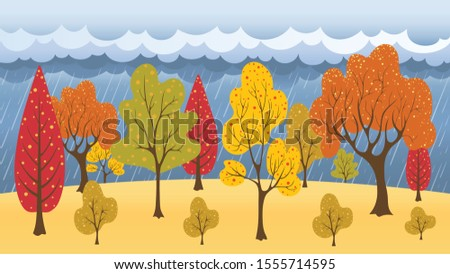 autumn forest and blue sky with
