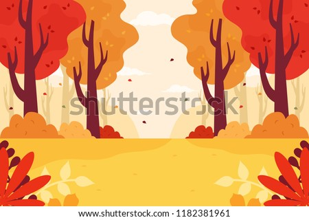 autumn forest background flat