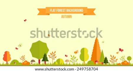 autumn forest flat background