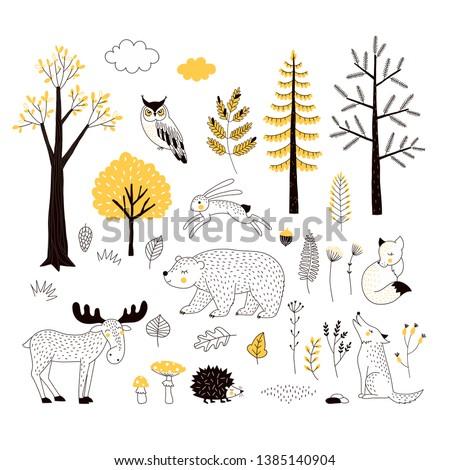 autumn forest flat hand drawn