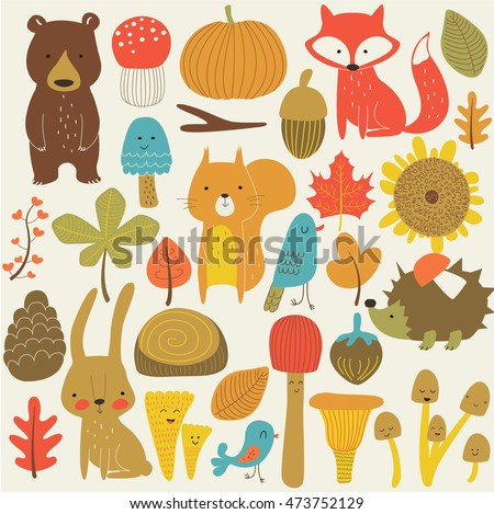 autumn forest in vector set