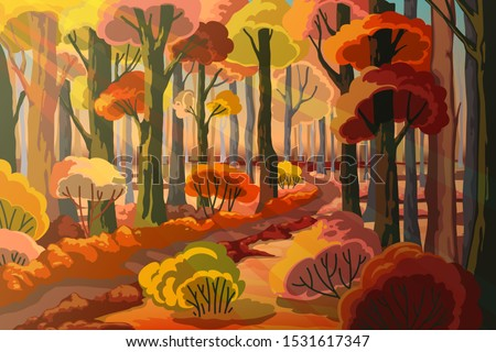 autumn forest landscape with