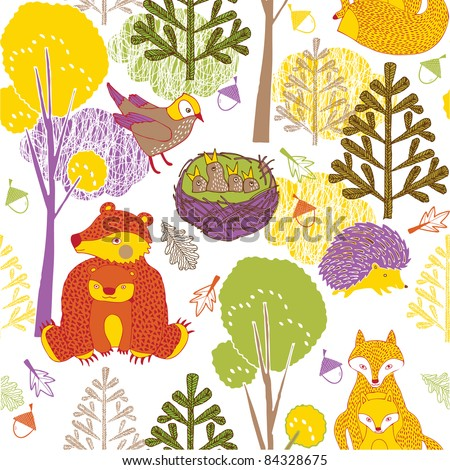 Autumn forest with animals