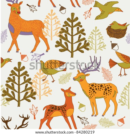 autumn forest with cute deers and birds