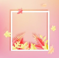 Autumn frame and blank space with maple leaves paper art style and beautiful pastel color background vector illustration
