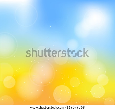 autumn frame with blur yellow and blue background