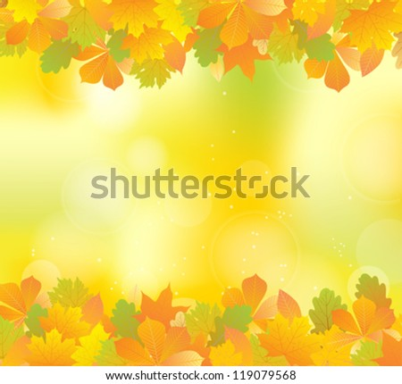 autumn frame with plant leaves on abstract blur yellow background