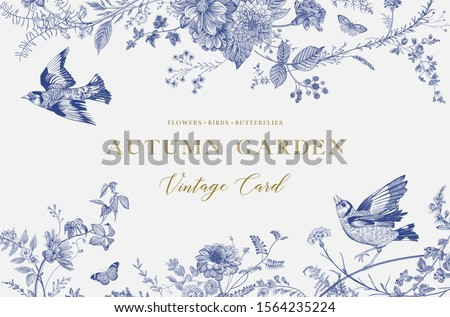 Autumn Garden. Vector horizontal card. Flowers, birds, butterflies. Blue and white. Toile de Jouy