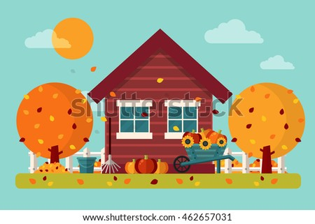 autumn garden with house