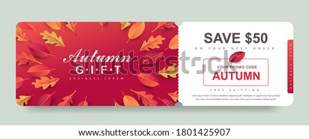 Autumn Gift promotion Coupon banner background. Elegant Autumn Voucher Design.