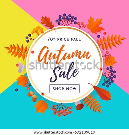 autumn sale banner design with leaves download free vector art