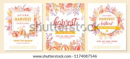 Autumn harvest festival postes with autumn leaves and floral elements in fall colors.Harvest fest design perfect for prints,flyers,banners,invitations,promotions and more.Vector autumn illustration.
