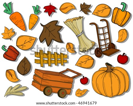 autumn   harvest icons   vector