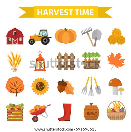 autumn harvest time icons set