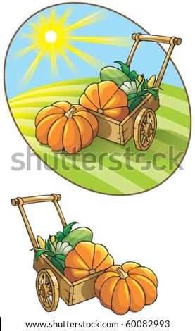 Autumn harvest: wheelbarrow with vegetables, vector illustration