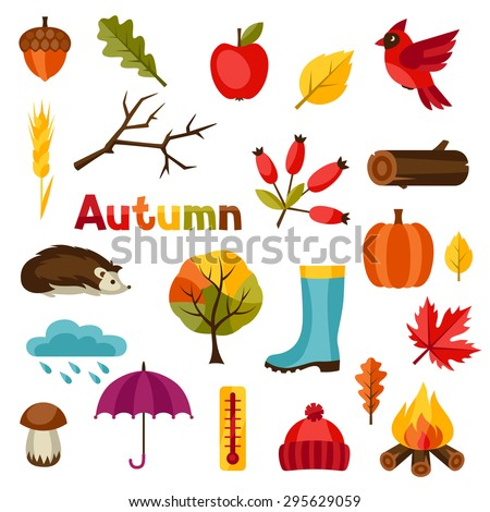 autumn icon and objects set for