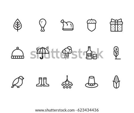 Autumn icon set, outline style