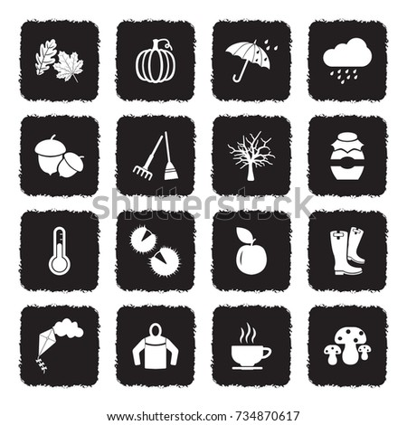 autumn icons grunge black flat