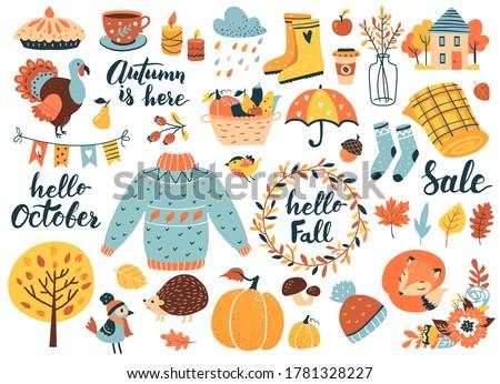 autumn icons set  falling