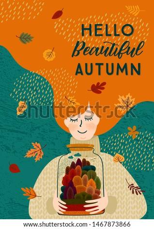 autumn illustration with cute