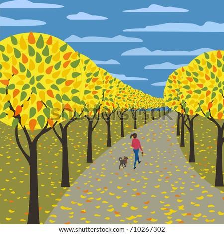 autumn in city garden poster