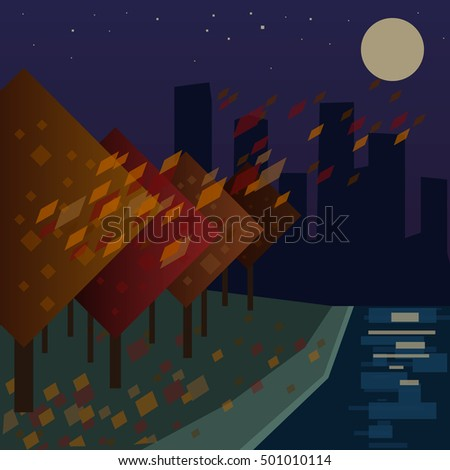 autumn in the night city view