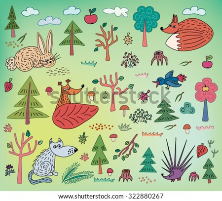autumn kids pattern with animals